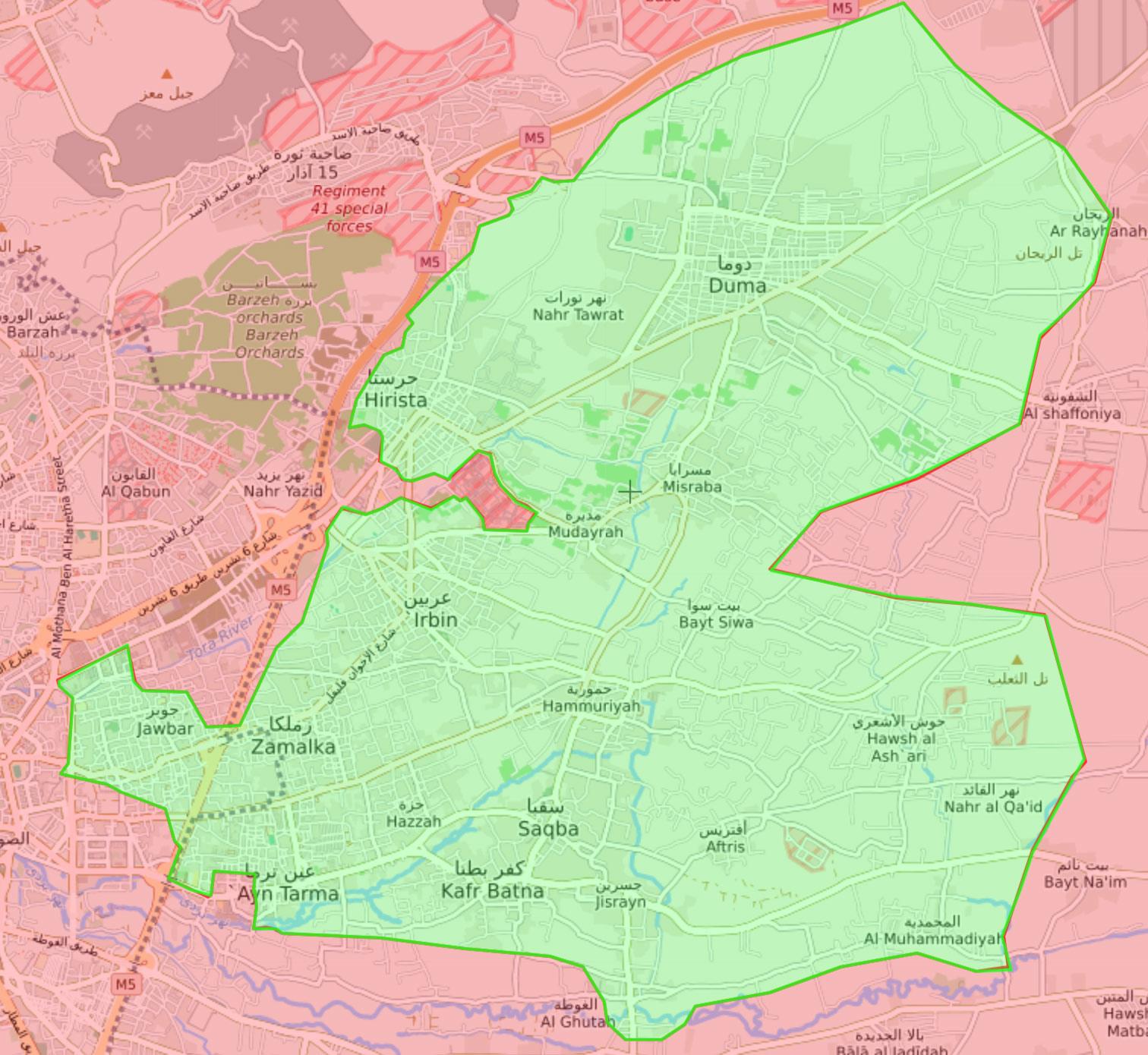 خريطة تظهر توزع السيطرة في الغوطة الشرقية - 5 آذار 2018 (livemap)