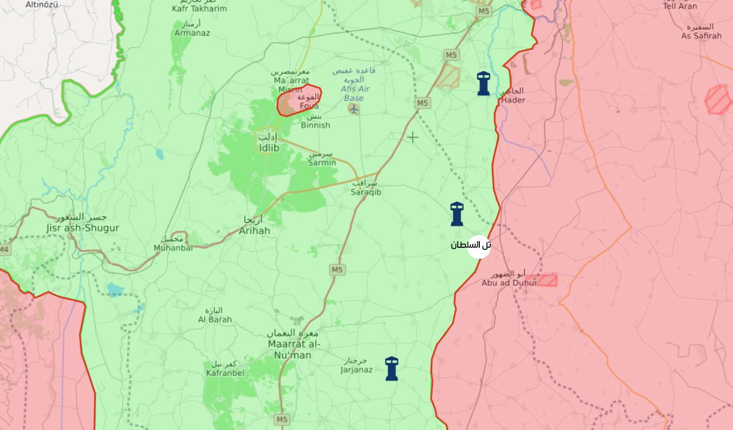 خريطة تظهر موقع معبر تل السلطان بريف إدلب الشرقي (تعديل عنب بلدي)