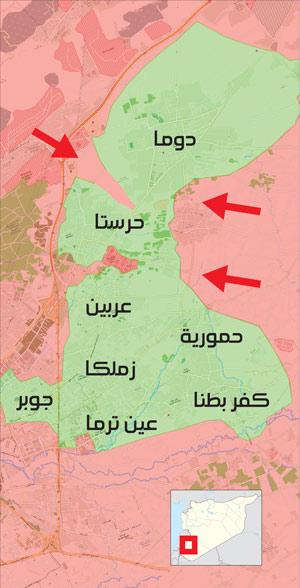 خريطة السيطرة العسكرية في الغوطة الشرقية شرق دمشق - 3 آذار 2018 (تعديل عنب بلدي)