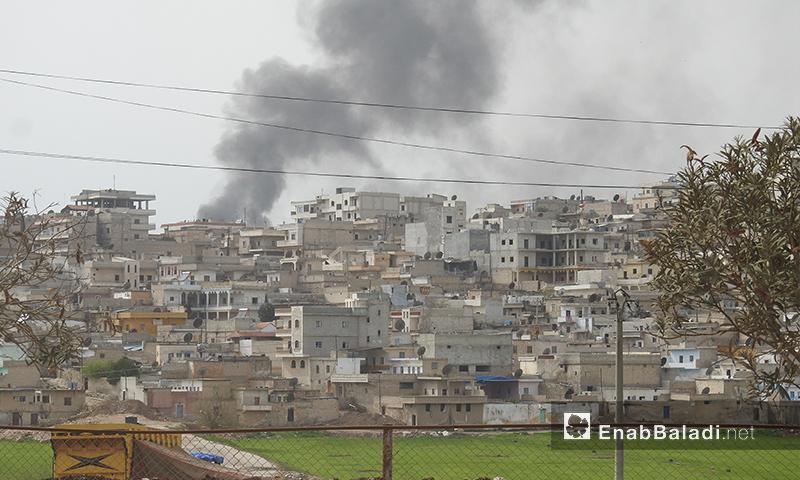 سحب دخان تتصاعد من مدينة عفرين - 18 آذار 2018 (عنب بلدي)
