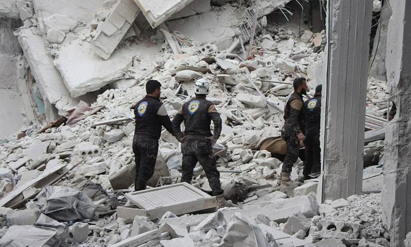 آذار القصف الجوي الروسي على مدينة حارم شمالي إدلب - 23 آذار 2018 (الدفاع المدني)