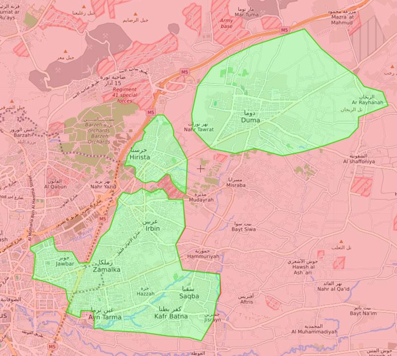 خريطة السيطرة الميدانية في الغوطة الشرقية - 17 آذار 2018 (Livemap)