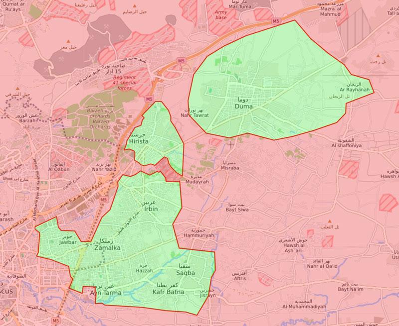 خريطة السيطرة الميدانية في الغوطة الشرقية - 16 آذار 2018 (livemap)