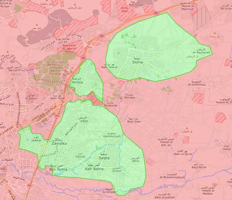 خريطة السيطرة في الغوطة الشرقية - 12 آذار 2018 (Livemap)
