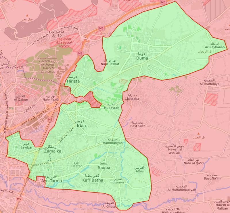 خريطة تظهر توزع السيطرة في الغوطة الشرقية لدمشق - 11 آذار 2018 (عنب بلدي)