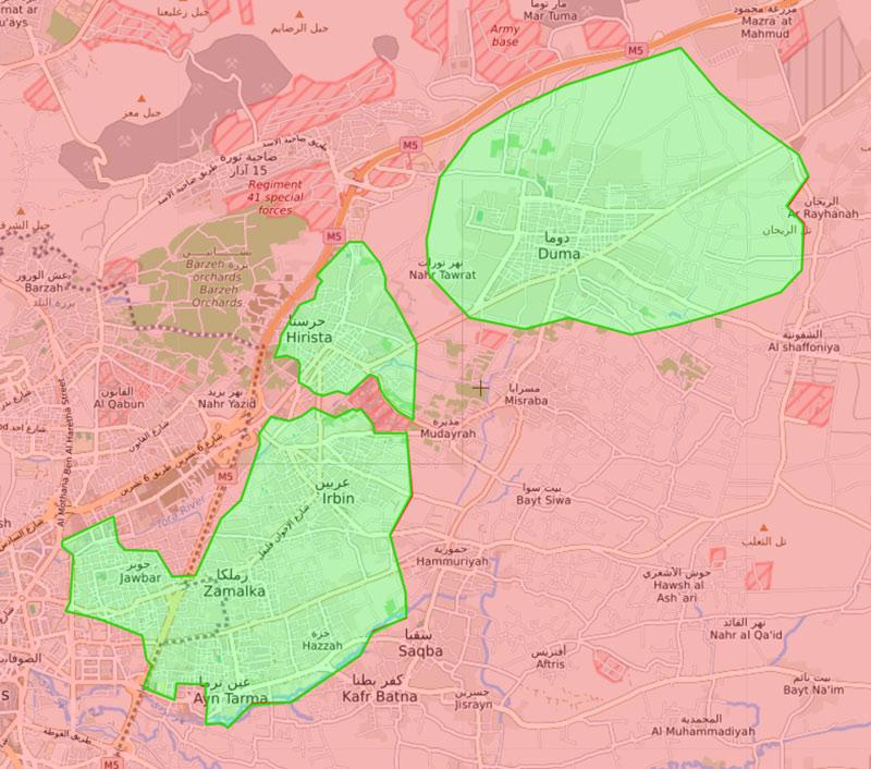 خريطة السيطرة في الغوطة الشرقية لدمشق - 22 آذار 2018 (livemap)