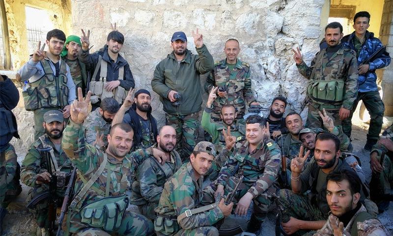 عناصر من قوات الأسد في الغوطة الشرقية - 7 آذار 2018 (المقاتل في قوات الأسد وسيم عيسى في فيس بوك)