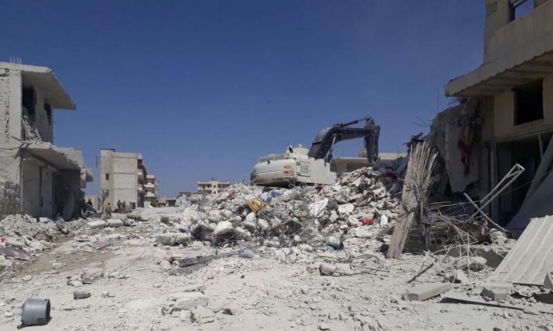انهيار مبنى ملغم في حي الأشرفية في مدينة عفرين - 26 آذار 2018 (فيس بوك)