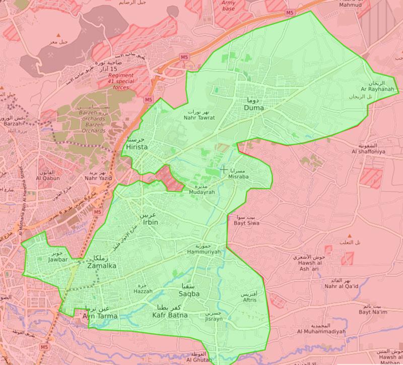 خريطة السيطرة الميدانية في الغوطة الشرقية - 9 آذار 2018 (livemap)