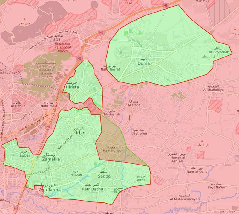 خريطة السيطرة في الغوطة الشرقية - 15 آذار 2018 (livemap)