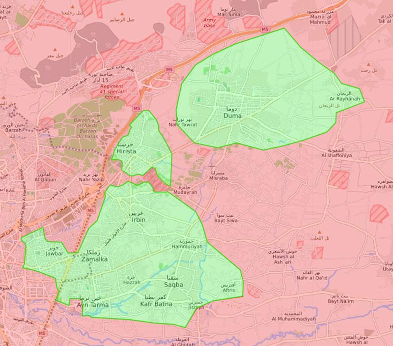 خريطة السيطرة الميدانية في الغوطة الشرقية - 15 آذار 2018 (livemap)