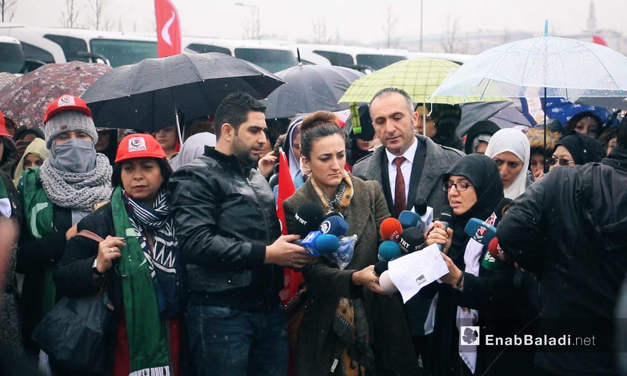 """مؤتمر صحفي قبل انطلاق قافلة """"َالضمير"""" لدعم المعتقلات السوريات من اسطنبول - 6 آذار 2018 (عنب بلدي)"""