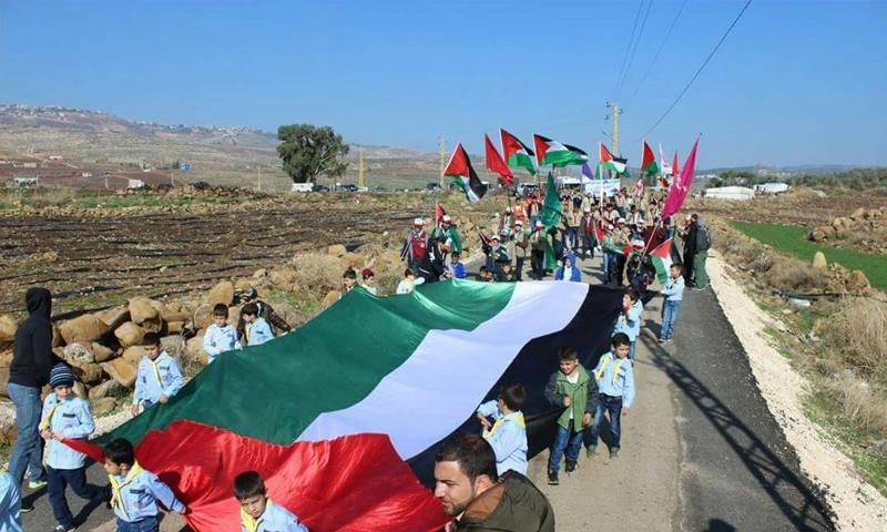 مسيرة على الحدود اللبنانية مع فلسطين المحتلة - كانون الثاني 2018 (أخبار البقاع)