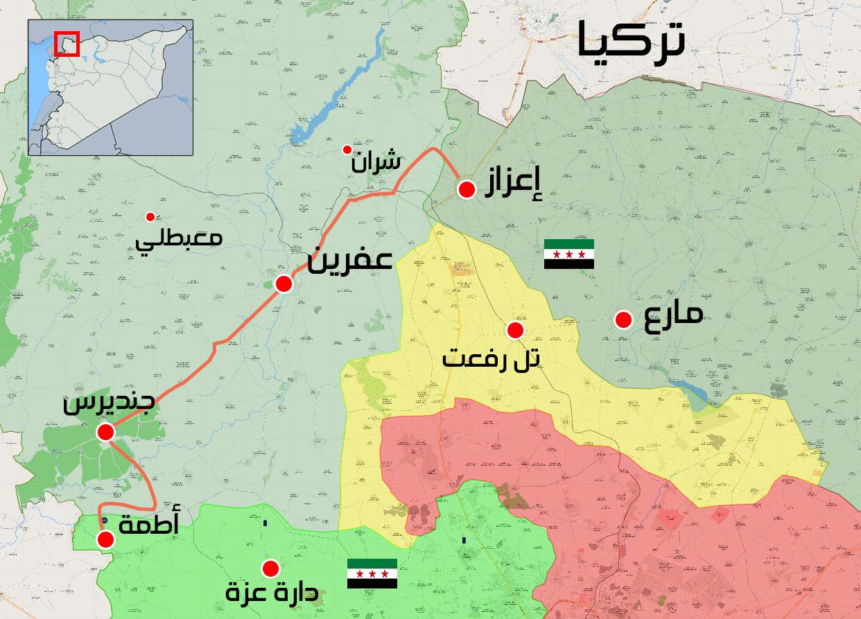 خريطة توضح الطريق الواصل بين ريف حلب الشمالي وإدلب - 27 آذار 2018 (عنب بلدي)