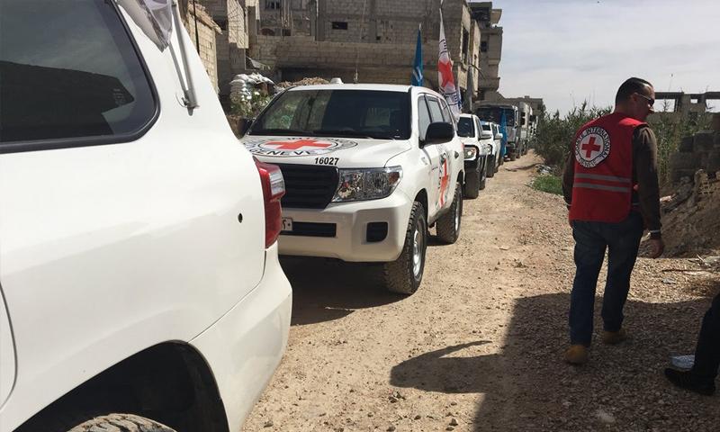 قافلة مساعدات تدخل الغوطة الشرقية - 15 من آذار 2018 (ICRC)