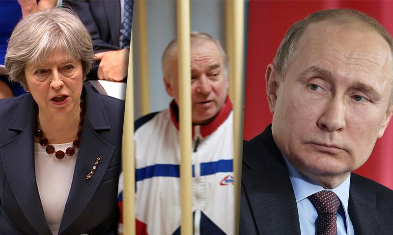 تعبيرية: الرئيس الروسي فلاديمير بوتين ورئيسة الوزراء البريطانية تيريزا ماي والجاسوس الروسي سيرغي سكريبل (انترنت)