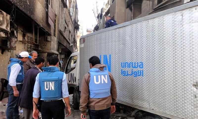 قافلة مساعدات للاجئين الفلسطينيين في سوريا (UNRWA)