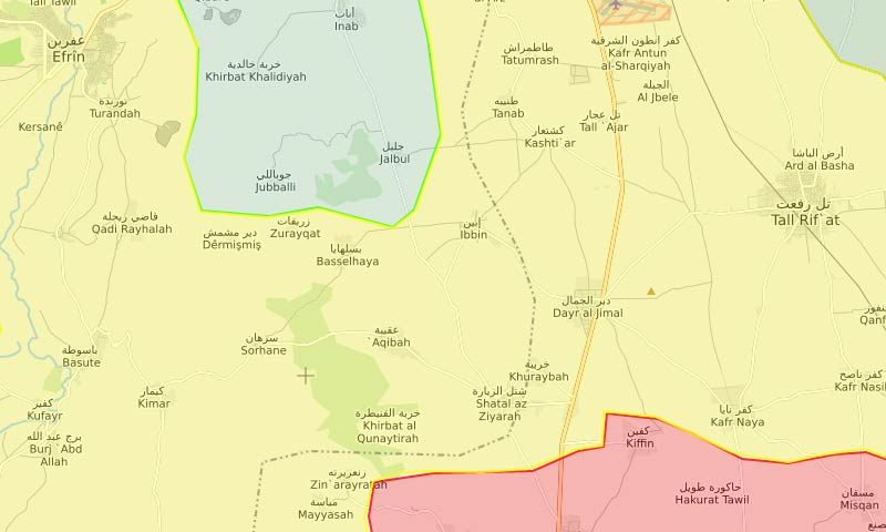 """خريطة السيطرة في عفرين ومحيطها وانتشار """"الوحدات"""" شمالي حلب - 12 آذار 2018 (LM)"""