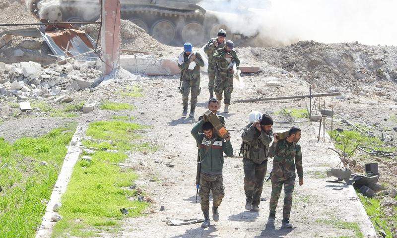 عناصر من قوات الأسد ضمن معارك الغوطة الشرقية - 9 آذار 2019 (وسيم عيسى)