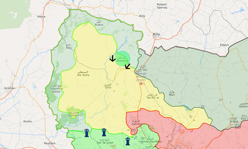 خريطة توضح موقع ناحية شران ومحاور تقدم الجيش الحر في محيطها – 5 آذار 2018 (lm)