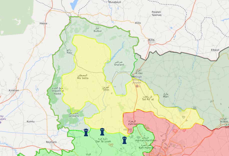 خريطة توضح نفوذ فصائل الجيش السوري الحر في محيط عفرين - 11 آذار 2018 (lm)