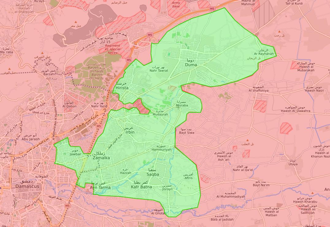 خريطة توضح نفوذ فصائل المعارضة في الغوطة الشرقية - 10 آذار 2018 (lm)