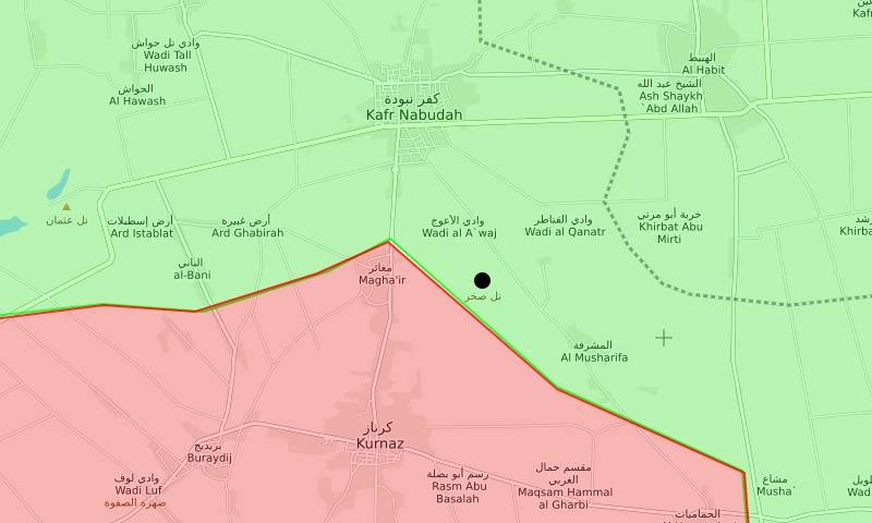 """خريطة السيطرة وتظهر موقع قرية """"تل صخر"""" شمال غربي حماة - 16 آذار 2018 (LM)"""