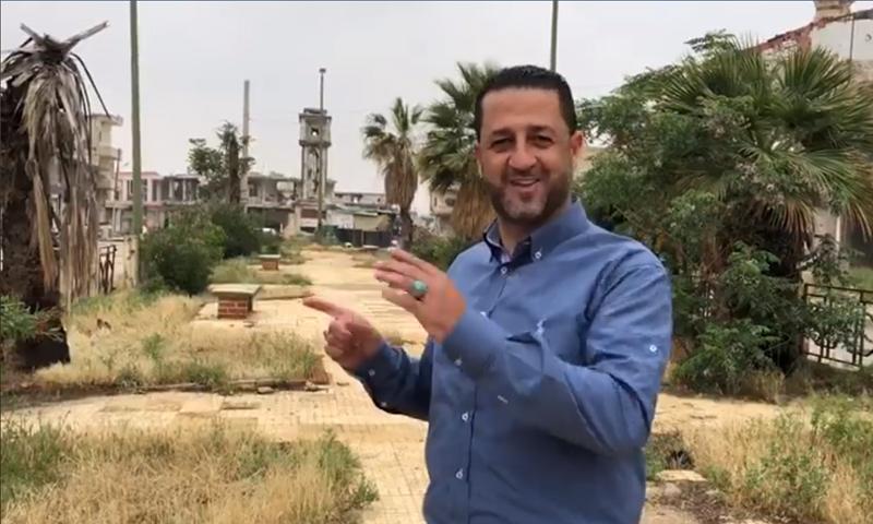 مراسل قناة العالم حسين مرتضى في ساحة مدينة القصير - 28 نيسان 2018 (فيس بوك)
