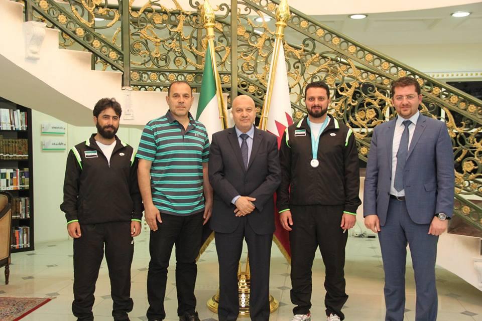 اللقاء في السفارة السورية بقطر - 18 آذار 2018 (الهيئةالرياضية)