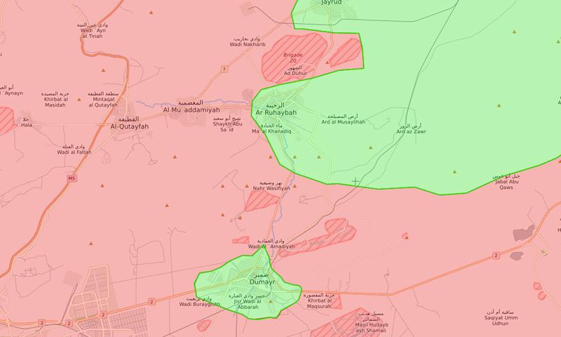 خريطة تظهر موقع الضمير في ريف دمشق - 19 من نيسان 2018 (LM)