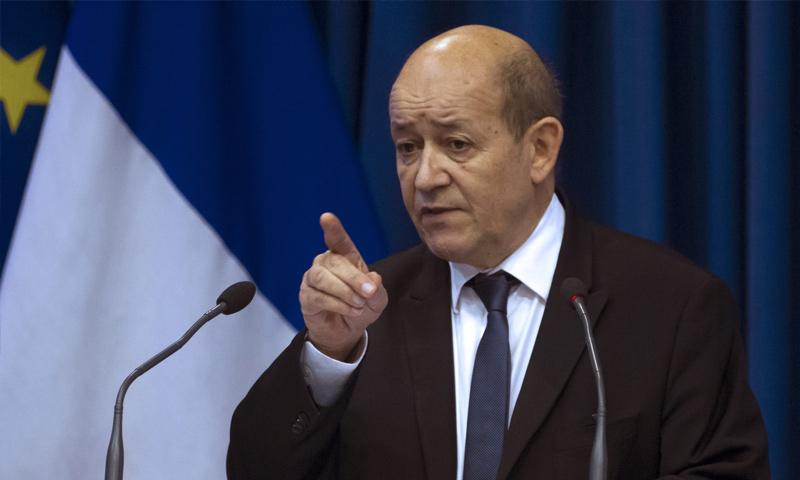 وزير الخارجية الفرنسي جان إيف لو دريان - 2018 (وسائل إعلام فرنسية)