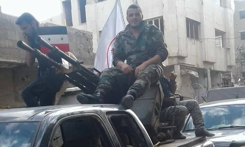 """عناصر من قوات """"الدفاع الوطني"""" التابعة لقوات الأسد جنوبي دمشق - 18 من نيسان 2018 (فيس بوك)"""