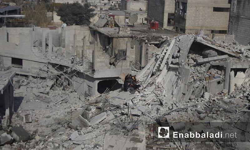 آثار القصف على منازل الغوطة الشرقية (عنب بلدي)