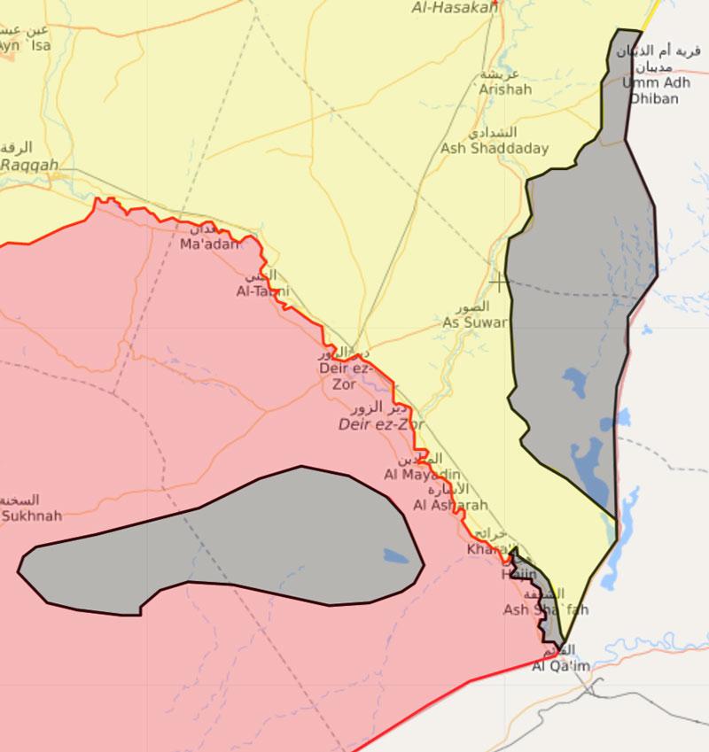 """جيوب تنظيم """"الدولة"""" في محافظة دير الزور - 2 نيسان 2018 (Livemap)"""