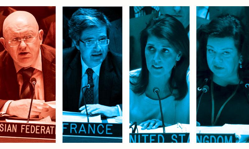 سفراء الولايات المتحدة الأمريكية وبريطانيا وفرنسا وروسيا في الأمم المتحدة (تعديل عنب بلدي)