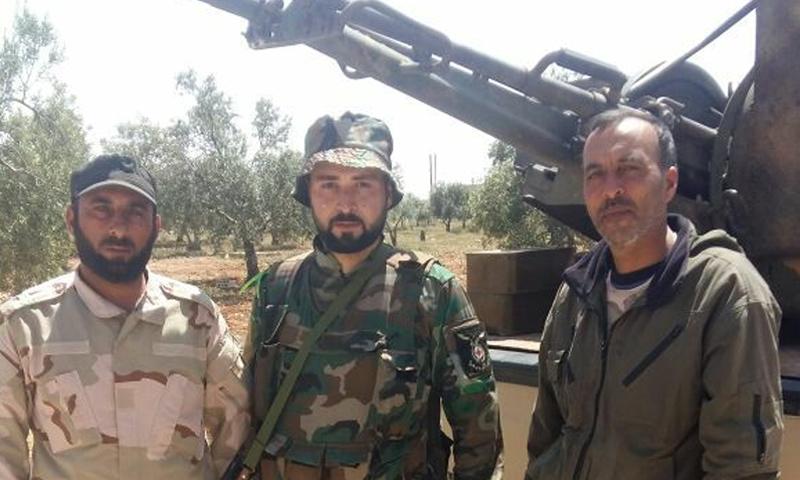 عناصر من قوات الأسد في ريف السلمية الغربي - 15 من نيسان 2018 (نسور الزوبعة في فيس بوك)