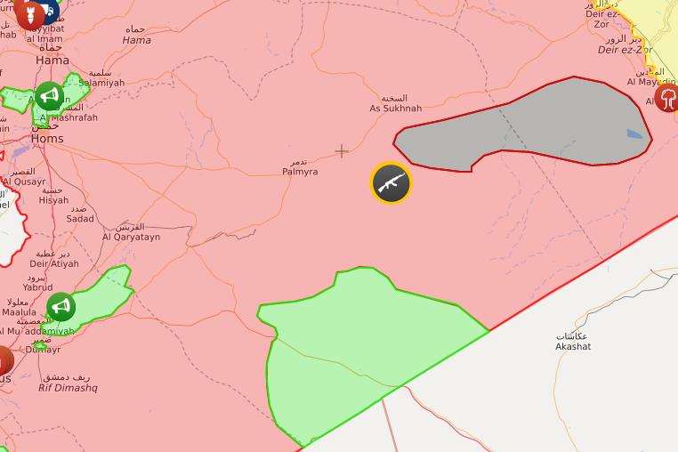 خريطة السيطرة في البادية السورية والقلمون – 7 نيسان 2018 (livemap)