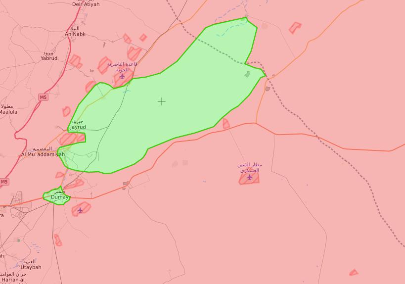 خريطة توضح نفوذ الجيش الحر في القلمون الشرقي - 2 نيسان 2018 (lm)