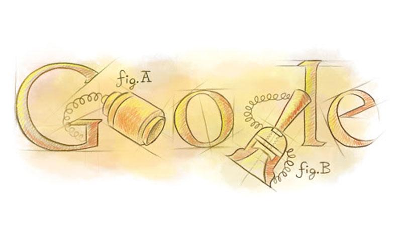 """الشعار الذي احتفلت به """"جوجل"""" بمخترع الهاتف أنطونيو ميوتشي (Google)"""