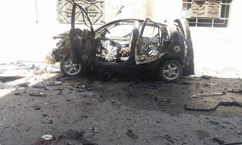 انفجار سيارة مفخخة في حي برزة بالعاصمة دمشق - 6 نيسان 2018 (فيس بوك)