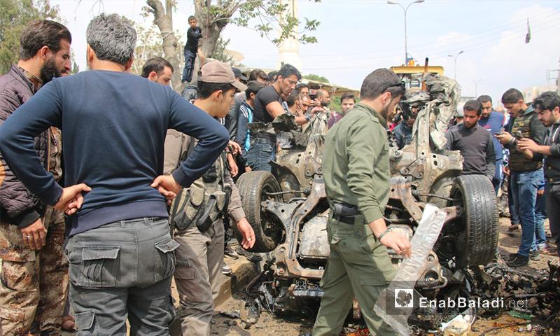 مكان انفجار السيارة وسط مدينة اعزاز شمالي حلب - 12 من نيسان 2018 (عنب بلدي)