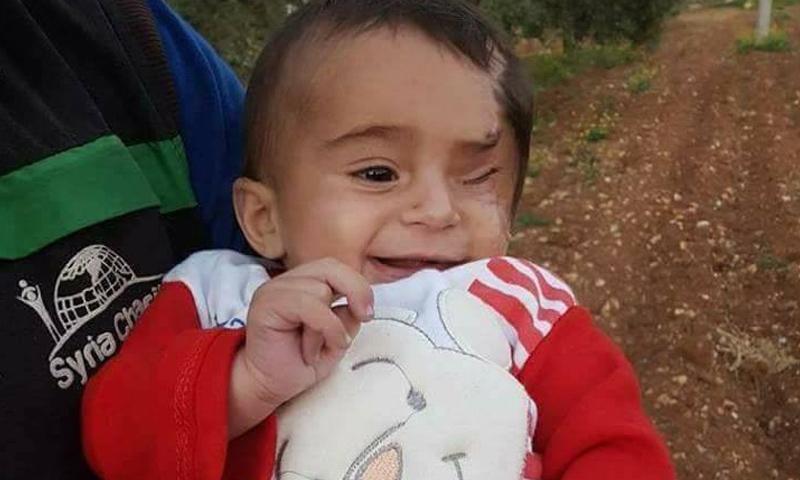 الطفل كريم بعد وصوله إلى محافظة إدلب - 31 آذار 2018 (فيس بوك)