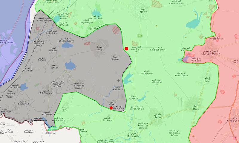 """خريطة ومحوري الهجوم لـ """"جيش خالد"""" غربي درعا - 19 من نيسان 2018 (LM)"""