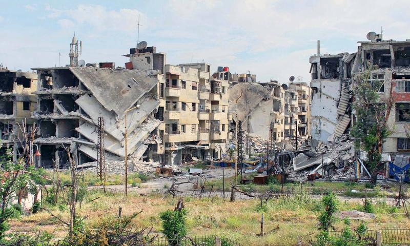 الدمار في حي القصور في حمص- 27 نيسان 2014 (عدسة شاب حمصي فيس بوك)