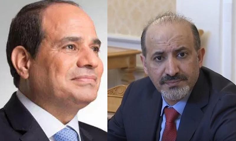 رئيس تيار الغد السوري أحمد الجربا والرئيس المصري عبد الفتاح السيسي (تعديل عنب بلدي)