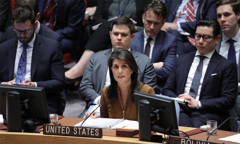 ممثلة أمريكا الدائمة في مجلس الأمن نيكي هيلي - 9 من نيسان 2018 (UN)
