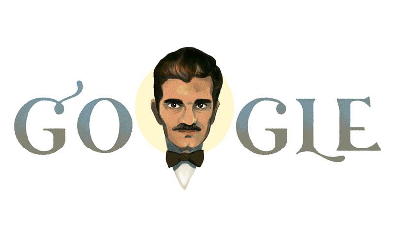 """شعار """"جوجل"""" الذي احتفلت من خلاله بعمر الشريف (Google)"""