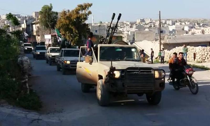 تعزيزات لفصيل الفرقة التاسعة لمؤازرة جبهة تحرير سوريا غربي حلب - 6 آذار 2018 (فيس بوك)
