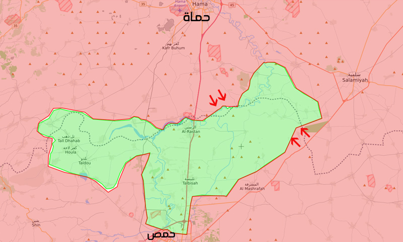 خريطة السيطرة في ريفي حمص الشمالي وحماة الجنوبي - 16 من نيسان 2018 (تعديل عنب بلدي)