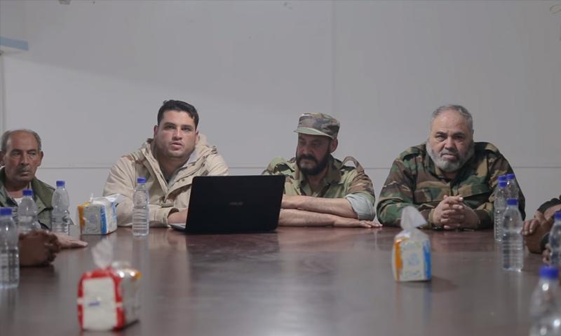 """تلاوة بيان انضمام فصائل نوى إلى """"جيش الثورة"""" في درعا - 13 من نيسان 2018 (يوتيوب)"""